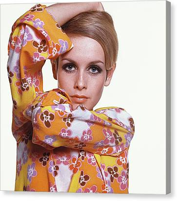 Portrait Of Twiggy Canvas Print by Bert Stern