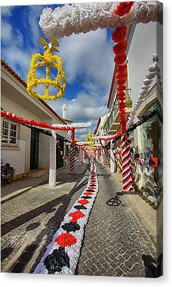 Portugal, Streets Of Tomar Decorated Canvas Print