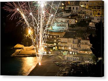 Canvas Print featuring the photograph Positano Fireworks - Italy by Carl Amoth