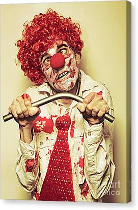 Possessed Horror Clown With Supernatural Strength Canvas Print by Jorgo Photography - Wall Art Gallery