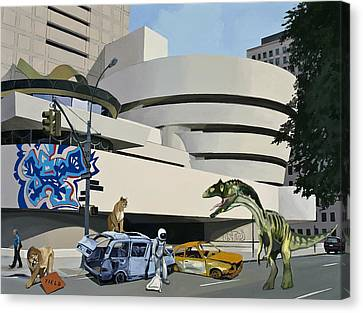 Canvas Print featuring the painting Post-nuclear Guggenheim Visit by Scott Listfield
