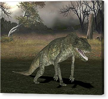 Postosuchus Dinosaur Canvas Print by Friedrich Saurer