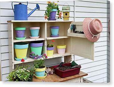 Potting Bench With Containers Canvas Print by Panoramic Images