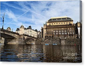 Prague From Vltava Canvas Print
