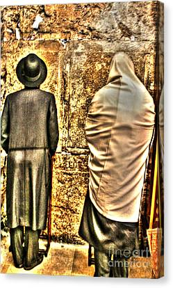 Canvas Print featuring the photograph Praying At The Western Wall by Doc Braham
