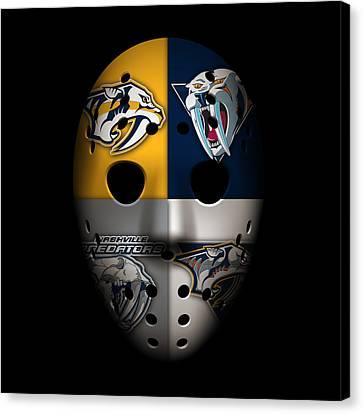 Predators Goalie Mask Canvas Print by Joe Hamilton