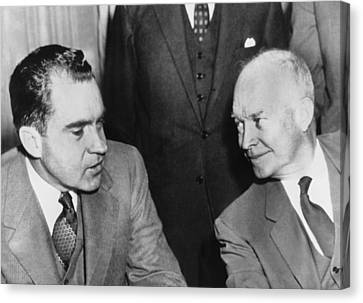 D.c. Canvas Print - President Eisenhower And Nixon by Underwood Archives