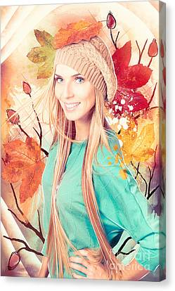 Pretty Blond Girl In Autumn Fashion Illustration Canvas Print