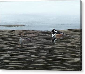 Canvas Print featuring the photograph Pretty Ducks by Gene Cyr