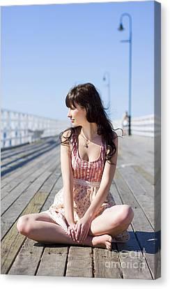 Pretty Pier Woman Canvas Print by Jorgo Photography - Wall Art Gallery