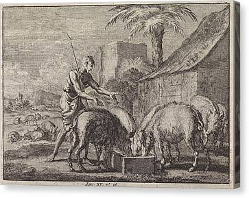 Prodigal Son As A Swineherd, Jan Luyken, Pieter Mortier Canvas Print by Jan Luyken And Pieter Mortier