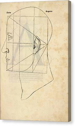 Divine Proportions Canvas Print - Proportions Of The Human Face by Library Of Congress