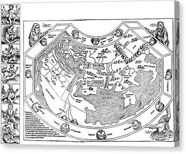 Cosmology Canvas Print - Ptolemaic World Map, 1493 by Granger