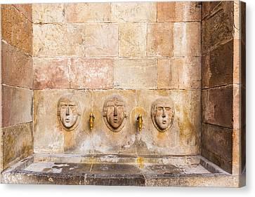Public Drinking Fountain Barcelona Spain Canvas Print by Marek Poplawski