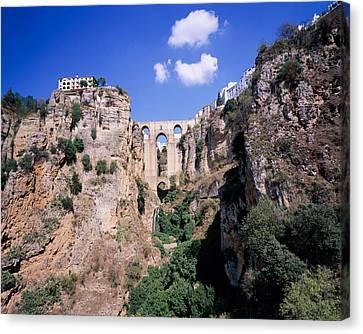 Puente Nuevo Bridge Above The Gorge Canvas Print