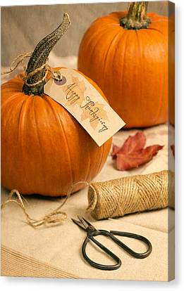 Labelled Canvas Print - Pumpkins For Thanksgiving by Amanda Elwell