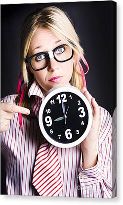 Punctual Woman Late For Time Schedule Deadline Canvas Print by Jorgo Photography - Wall Art Gallery