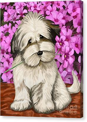 Canvas Print featuring the painting Puppy In The Flowers by Tim Gilliland