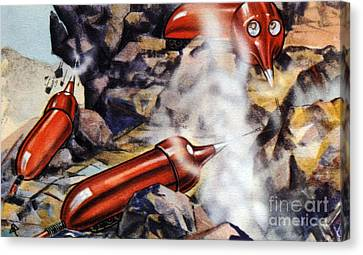 Quarrying, Futuristic Artwork Canvas Print by Chris Hellier