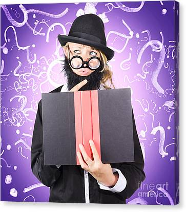 Question Man Reading Puzzle Solving Book Canvas Print
