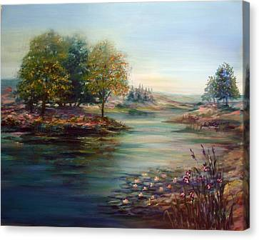 Canvas Print featuring the painting Quiet Day On The Lake by Laila Awad Jamaleldin