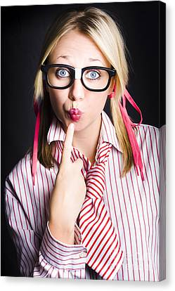 Quiet Female Dork Keeping Secret With Lips Sealed  Canvas Print by Jorgo Photography - Wall Art Gallery