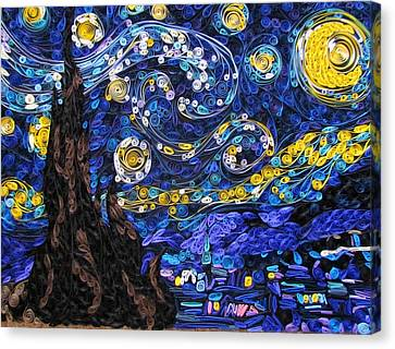 Quilled Starry Night Canvas Print by Suzy Myers