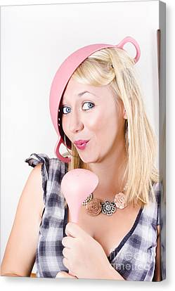 Quirky Housework Girl Singing Kitchen Karaoke Canvas Print