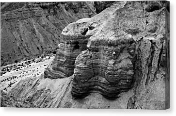 Qumran Cave 4 Bw Canvas Print by Stephen Stookey