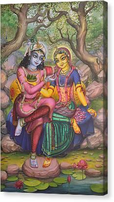 Radha And Krishna Canvas Print by Vrindavan Das