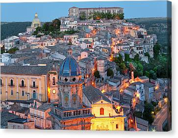 Sicily Canvas Print - Ragusa At Dusk, Sicily, Italy by Peter Adams