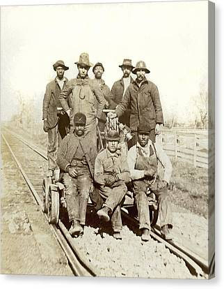 Medium Group Of People Canvas Print - Railroad Workers by Underwood Archives