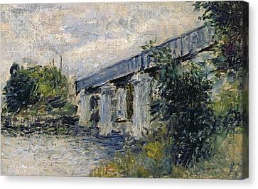 Railway Bridge At Argenteuil Canvas Print by Claude Monet