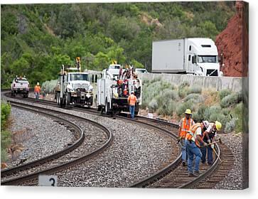 Railway Track Maintenance Canvas Print by Jim West