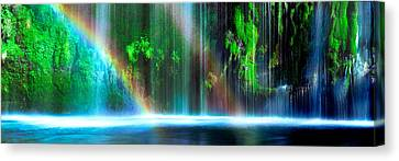 Rainbow Formed In Front Of A Waterfall Canvas Print by Panoramic Images