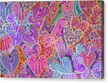 Rainbow Henna Heart Cookies Canvas Print by Alixandra Mullins