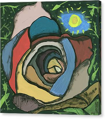 Canvas Print featuring the painting Rainbow Rose by Artists With Autism Inc