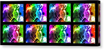Rainbow Zebra Collage Canvas Print by Bruce Nutting