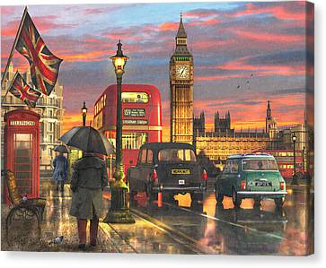 Raining In Parliament Square Canvas Print by Dominic Davison