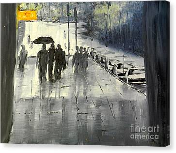 Rainy City Street Canvas Print by Pamela  Meredith