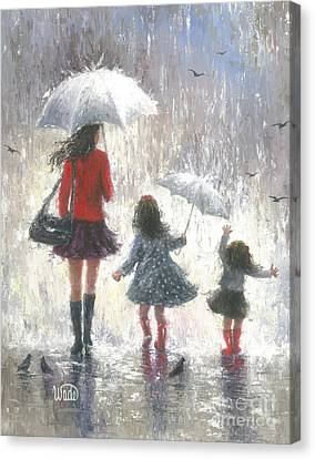Rainy Day Walk With Mom Canvas Print by Vickie Wade