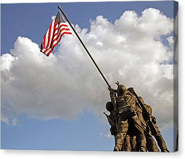 Canvas Print featuring the photograph Raising The American Flag by Cora Wandel