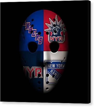 Rangers Goalie Mask Canvas Print