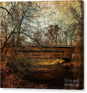 Rapps Dam Covered Bridge Canvas Print by Judy Wolinsky