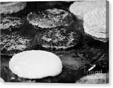Raw And Cooked Processed Hamburgers On A Commercial Flat Grill At An Outdoor Event Canvas Print by Joe Fox