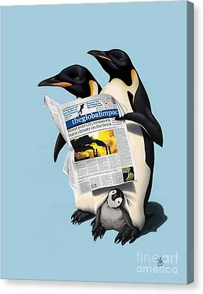 Penguin Canvas Print - Read All Over Colour by Rob Snow