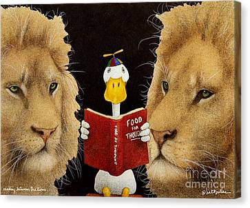 Reading Between The Lions... Canvas Print by Will Bullas