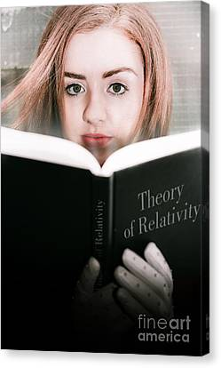 Reading Theory Of Relativity Book Canvas Print by Jorgo Photography - Wall Art Gallery