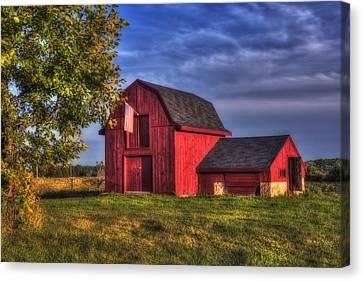 Red Barn In Autumn Canvas Print by Joann Vitali