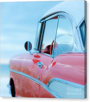 Antique Automobiles Canvas Print - Red Chevy '57 Bel Air At The Beach Square by Edward Fielding